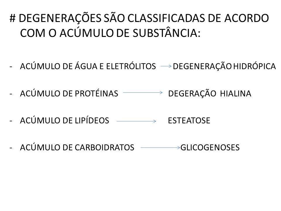 # DEGENERAÇÕES SÃO CLASSIFICADAS DE ACORDO COM O ACÚMULO DE SUBSTÂNCIA: