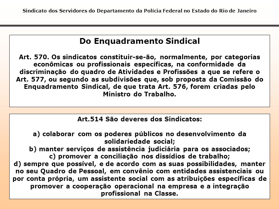 Do Enquadramento Sindical