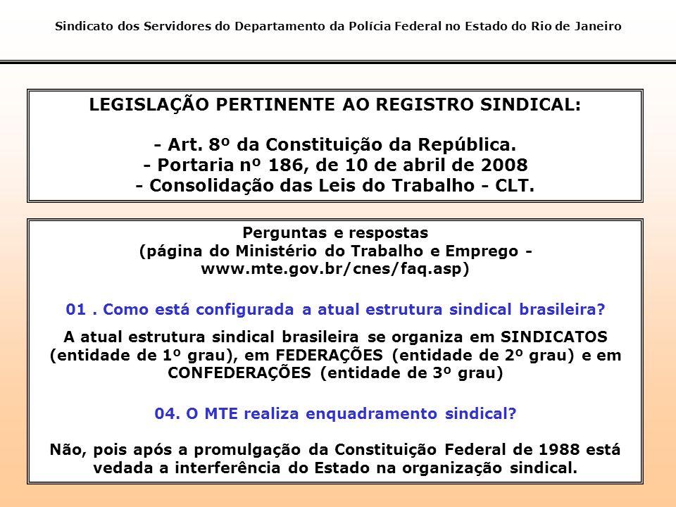 LEGISLAÇÃO PERTINENTE AO REGISTRO SINDICAL: