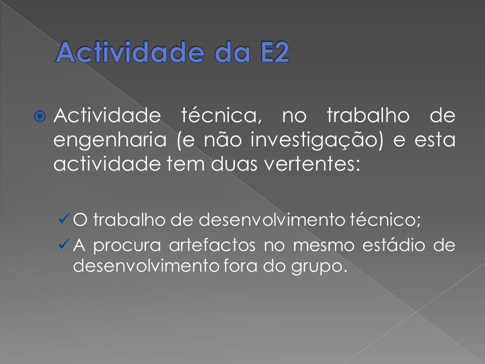 Actividade da E2 Actividade técnica, no trabalho de engenharia (e não investigação) e esta actividade tem duas vertentes: