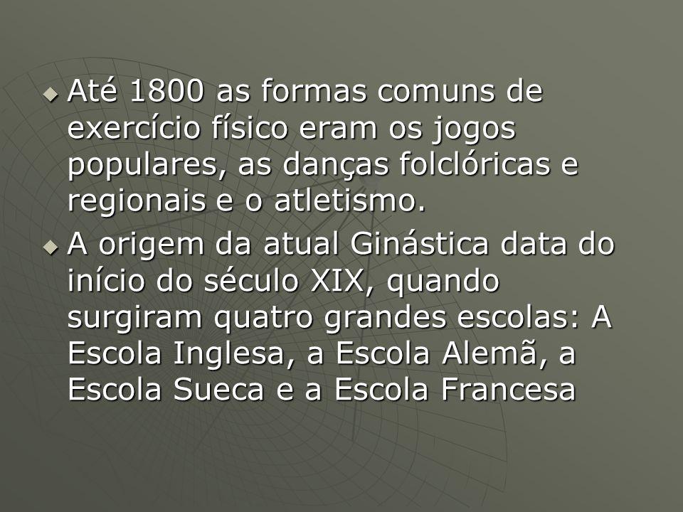 Até 1800 as formas comuns de exercício físico eram os jogos populares, as danças folclóricas e regionais e o atletismo.