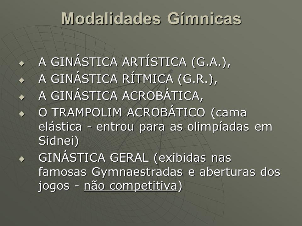 Modalidades Gímnicas A GINÁSTICA ARTÍSTICA (G.A.),