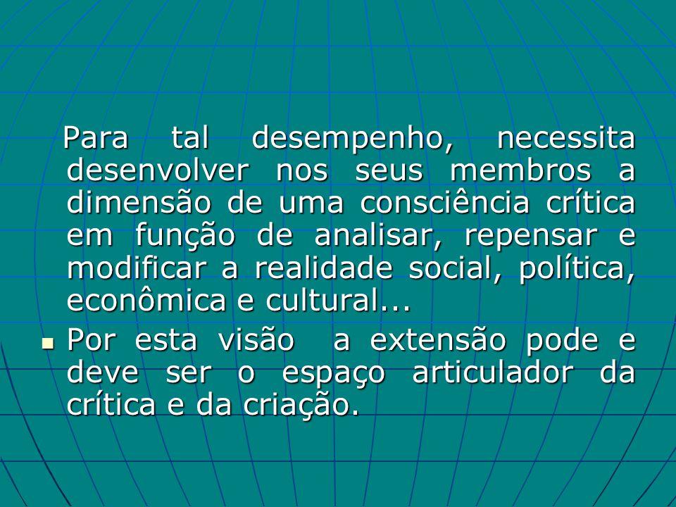 Para tal desempenho, necessita desenvolver nos seus membros a dimensão de uma consciência crítica em função de analisar, repensar e modificar a realidade social, política, econômica e cultural...