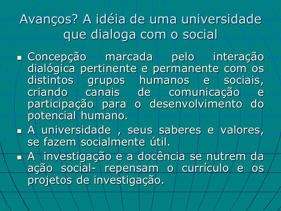 Avanços A idéia de uma universidade que dialoga com o social