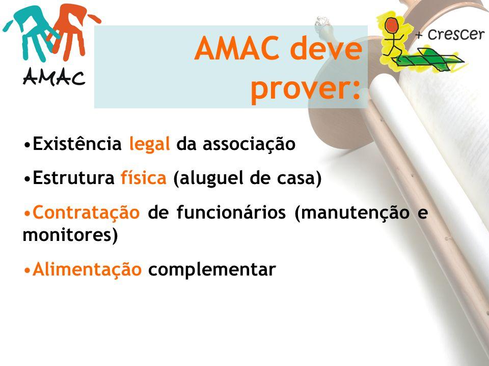 AMAC deve prover: Existência legal da associação