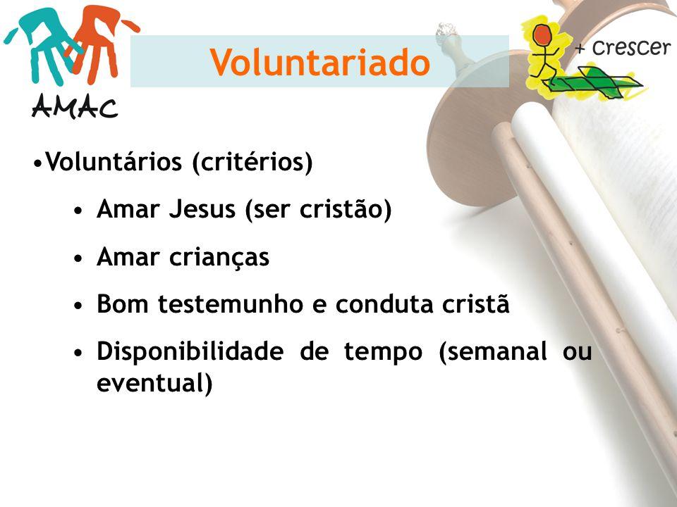 Voluntariado Voluntários (critérios) Amar Jesus (ser cristão)