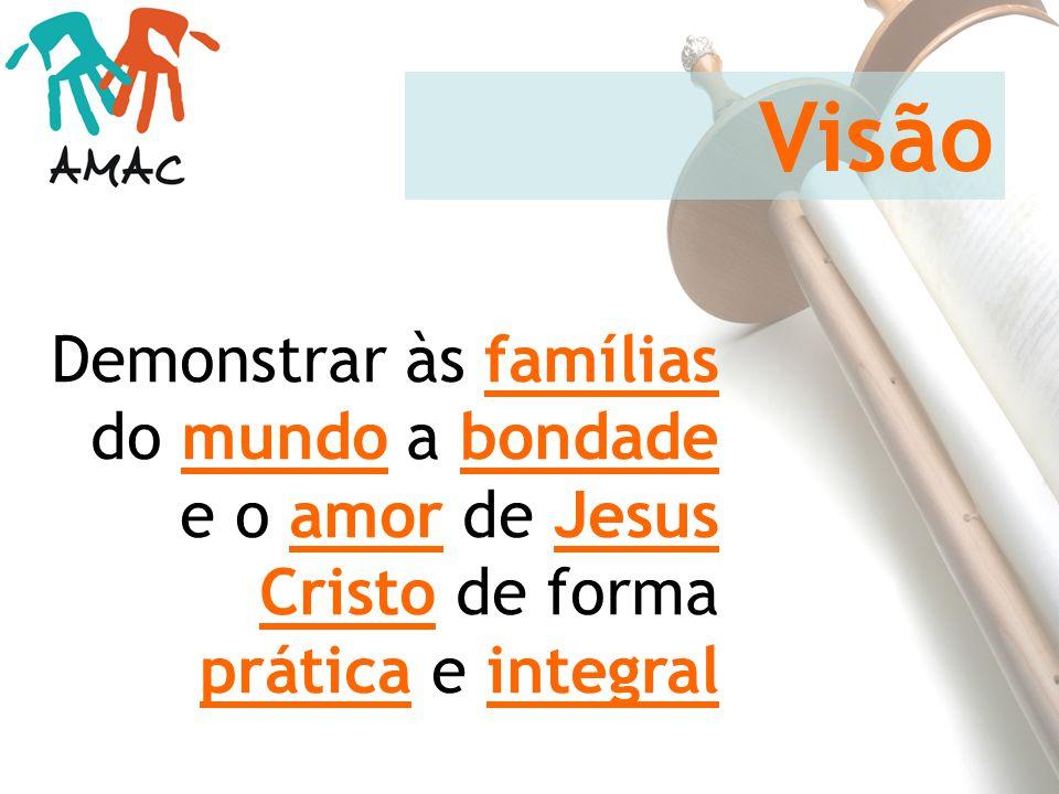 Visão Demonstrar às famílias do mundo a bondade e o amor de Jesus Cristo de forma prática e integral.