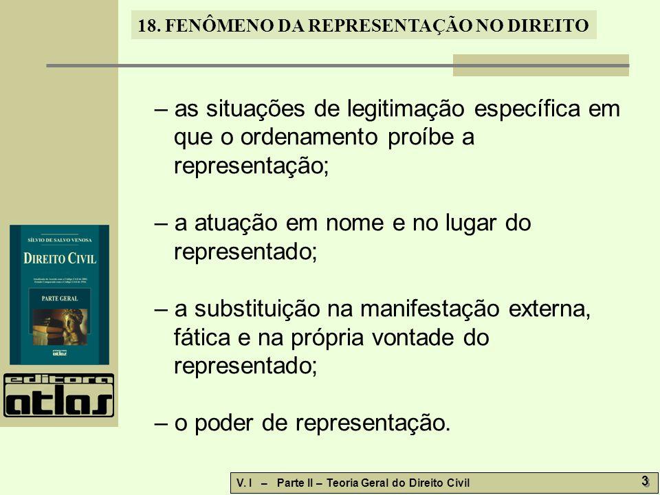 – as situações de legitimação específica em que o ordenamento proíbe a representação;