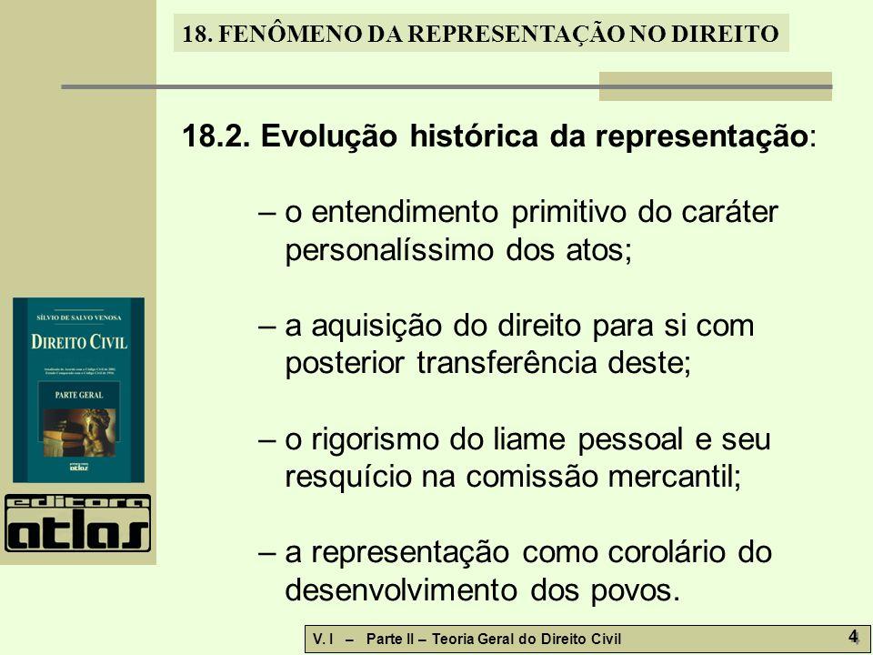 18.2. Evolução histórica da representação: