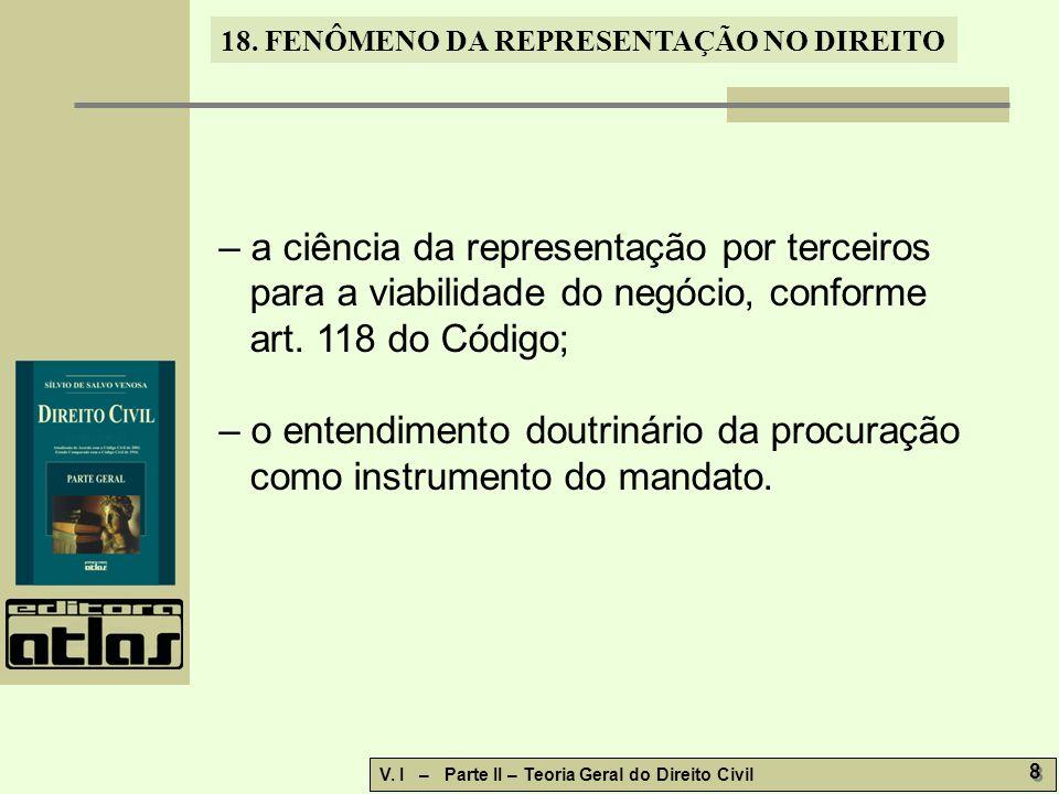 – a ciência da representação por terceiros para a viabilidade do negócio, conforme art. 118 do Código;
