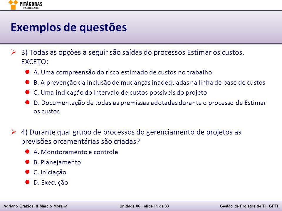 Exemplos de questões 3) Todas as opções a seguir são saídas do processos Estimar os custos, EXCETO: