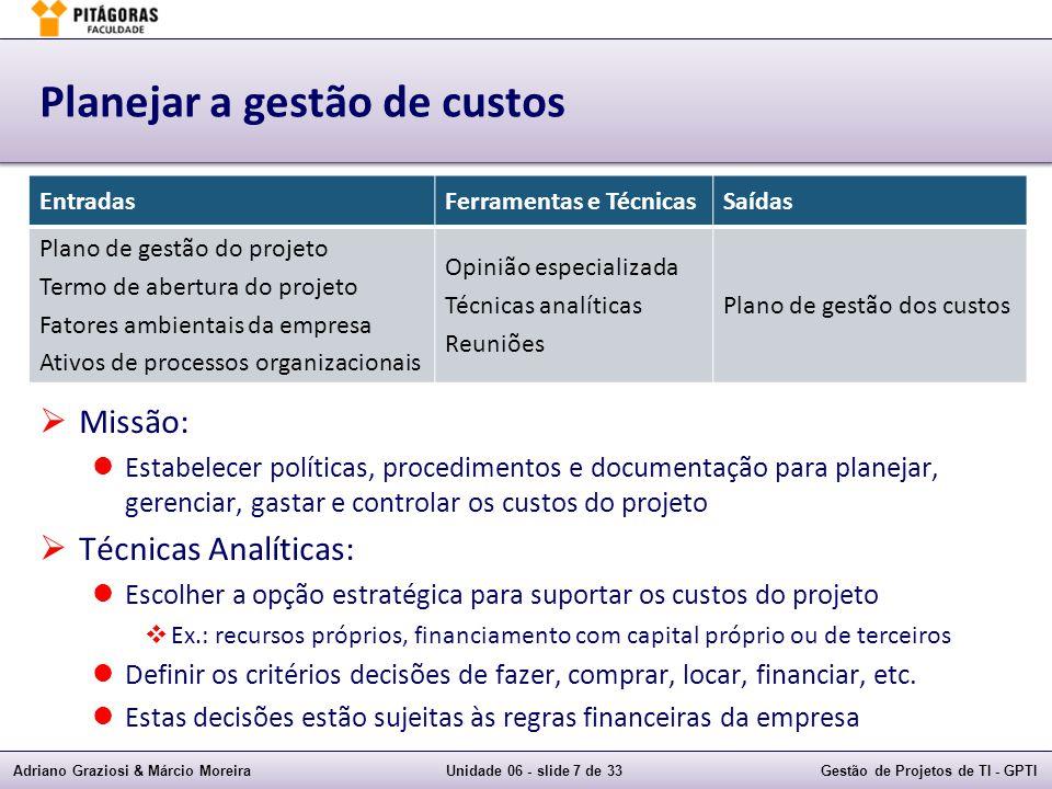 Planejar a gestão de custos