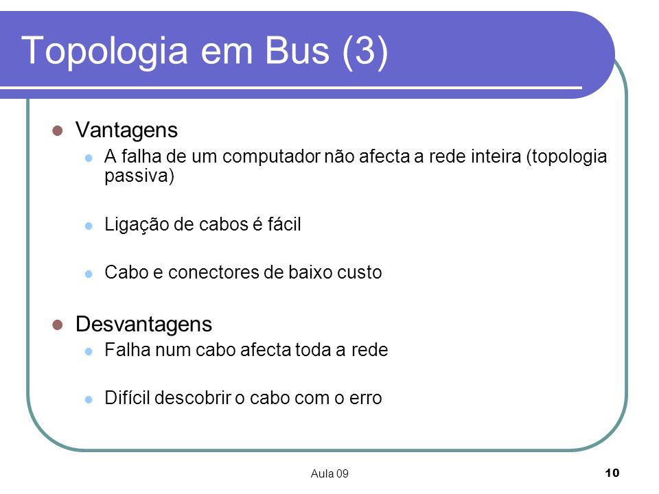 Topologia em Bus (3) Vantagens Desvantagens