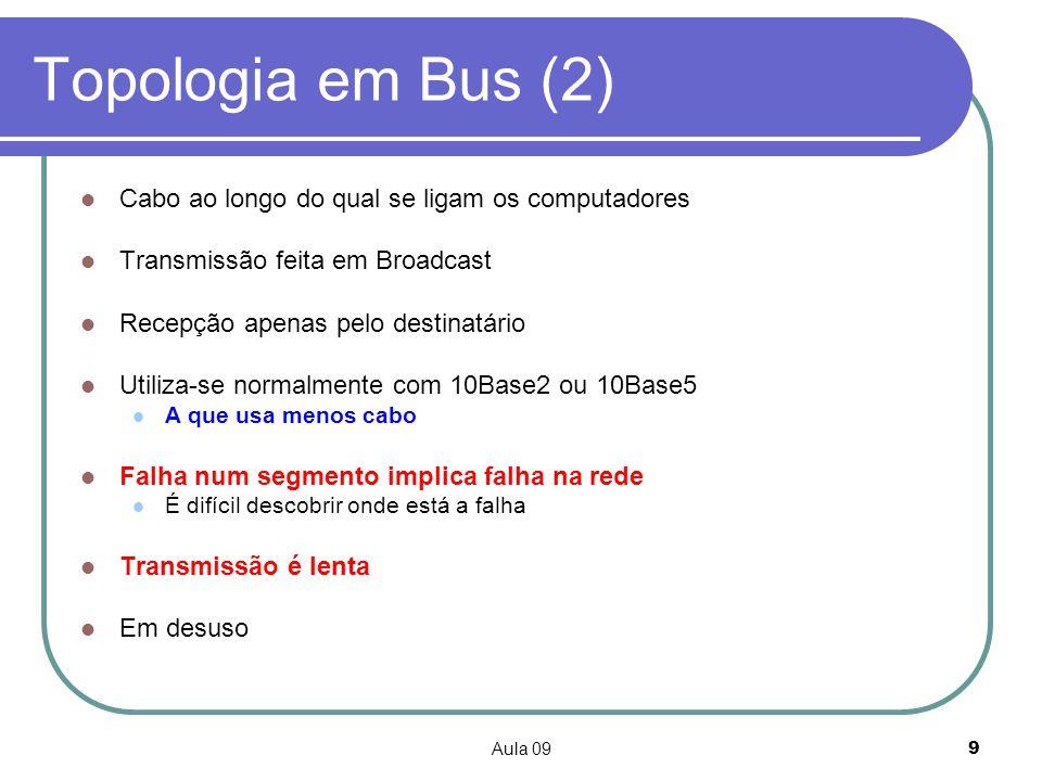 Topologia em Bus (2) Cabo ao longo do qual se ligam os computadores