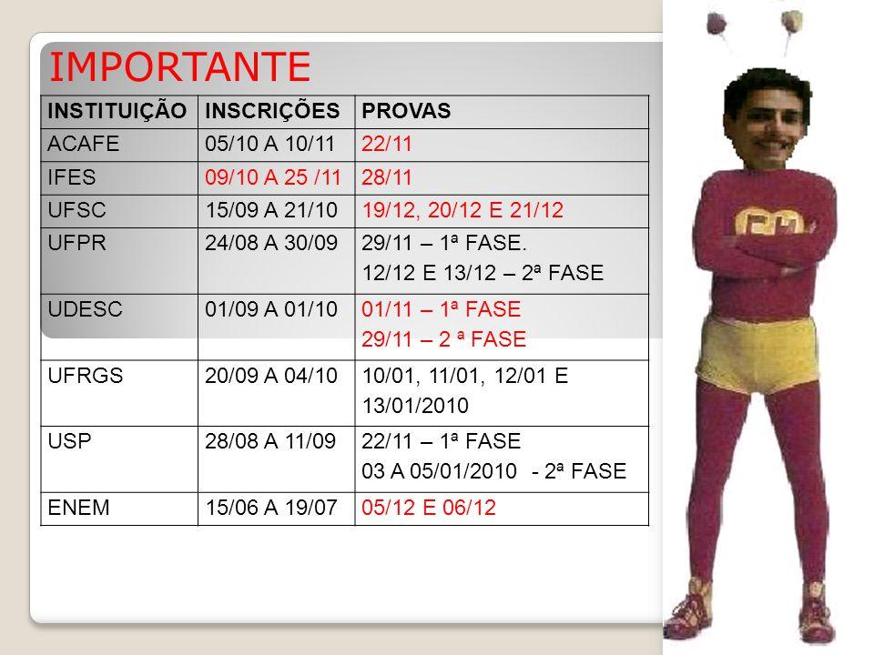 IMPORTANTE INSTITUIÇÃO INSCRIÇÕES PROVAS ACAFE 05/10 A 10/11 22/11