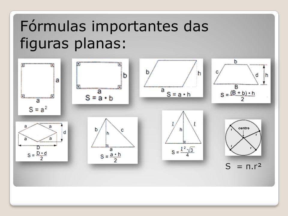 Fórmulas importantes das figuras planas:
