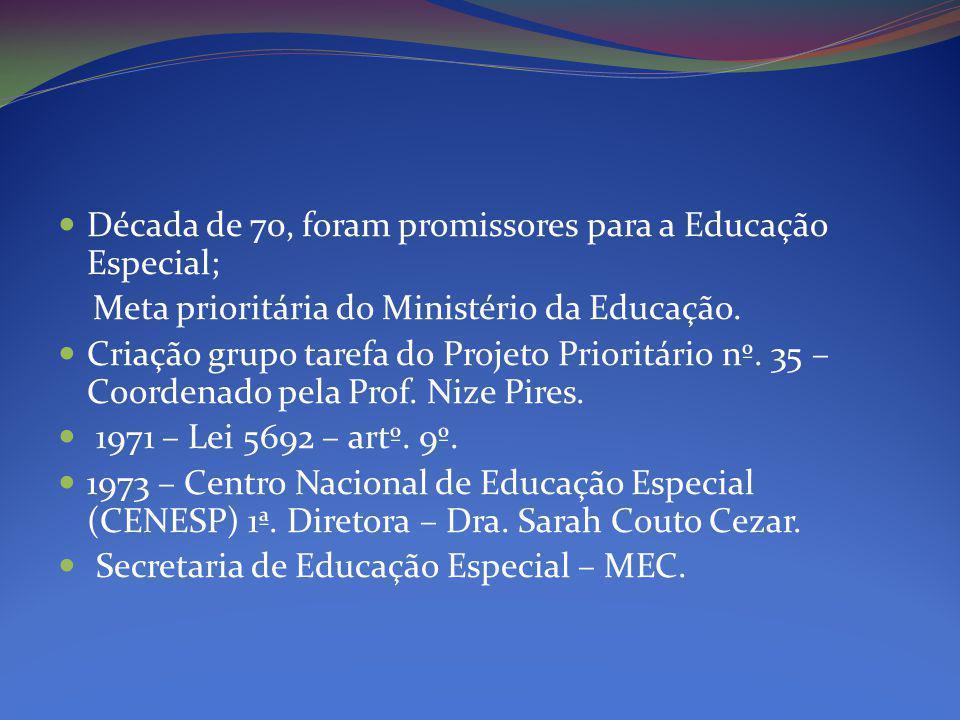 Década de 70, foram promissores para a Educação Especial;
