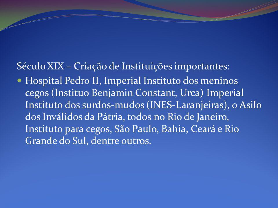 Século XIX – Criação de Instituições importantes: