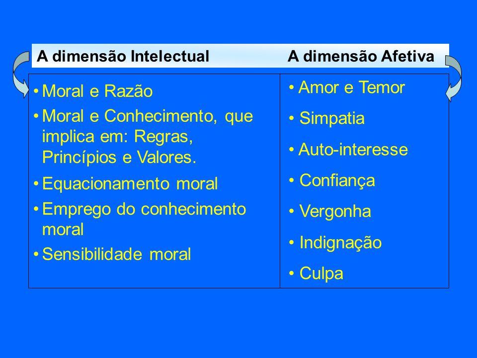 Moral e Conhecimento, que implica em: Regras, Princípios e Valores.