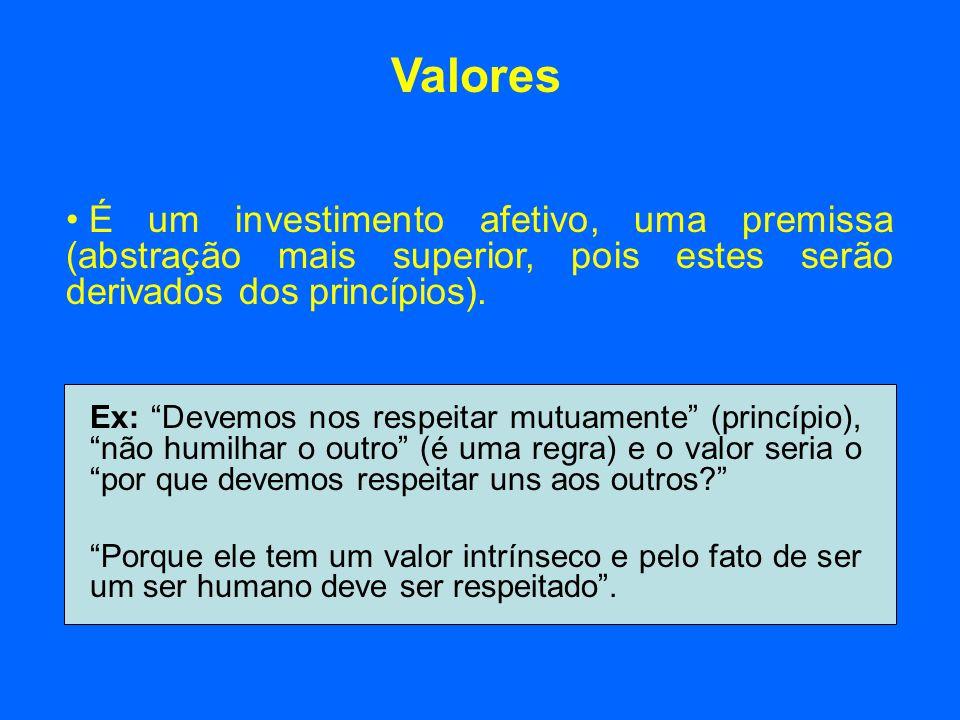 Valores É um investimento afetivo, uma premissa (abstração mais superior, pois estes serão derivados dos princípios).