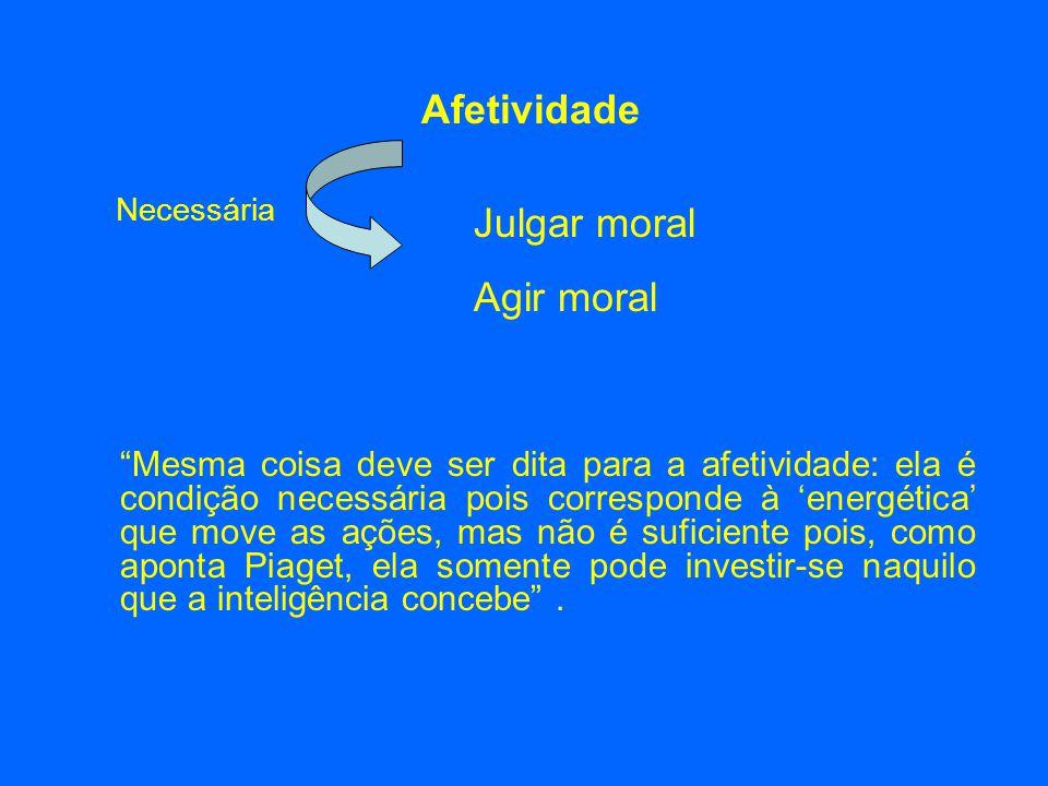 Afetividade Julgar moral Agir moral Necessária