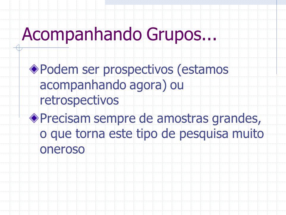 Acompanhando Grupos... Podem ser prospectivos (estamos acompanhando agora) ou retrospectivos.