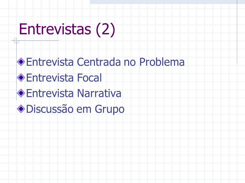 Entrevistas (2) Entrevista Centrada no Problema Entrevista Focal