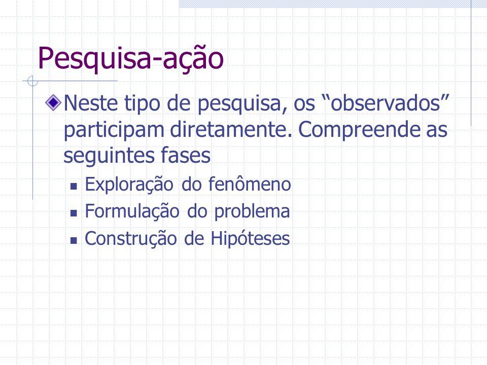 Pesquisa-ação Neste tipo de pesquisa, os observados participam diretamente. Compreende as seguintes fases.