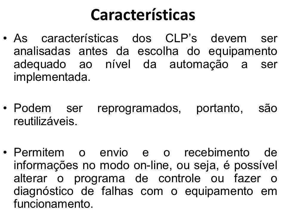 Características As características dos CLP's devem ser analisadas antes da escolha do equipamento adequado ao nível da automação a ser implementada.