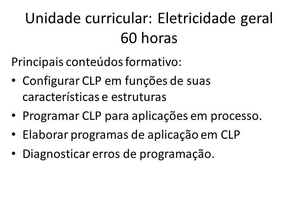 Unidade curricular: Eletricidade geral 60 horas