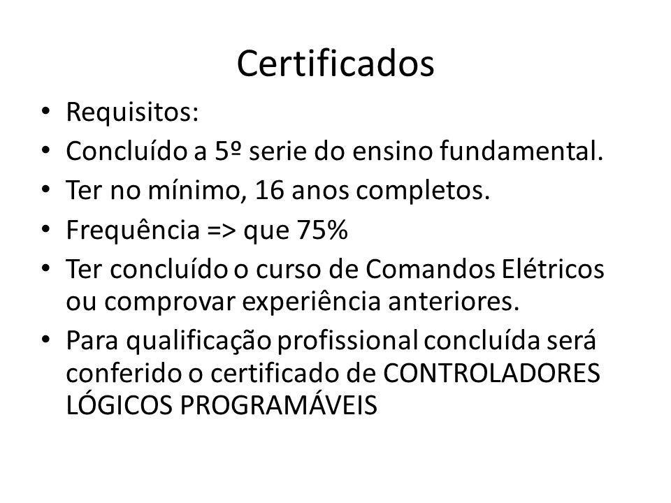 Certificados Requisitos: Concluído a 5º serie do ensino fundamental.