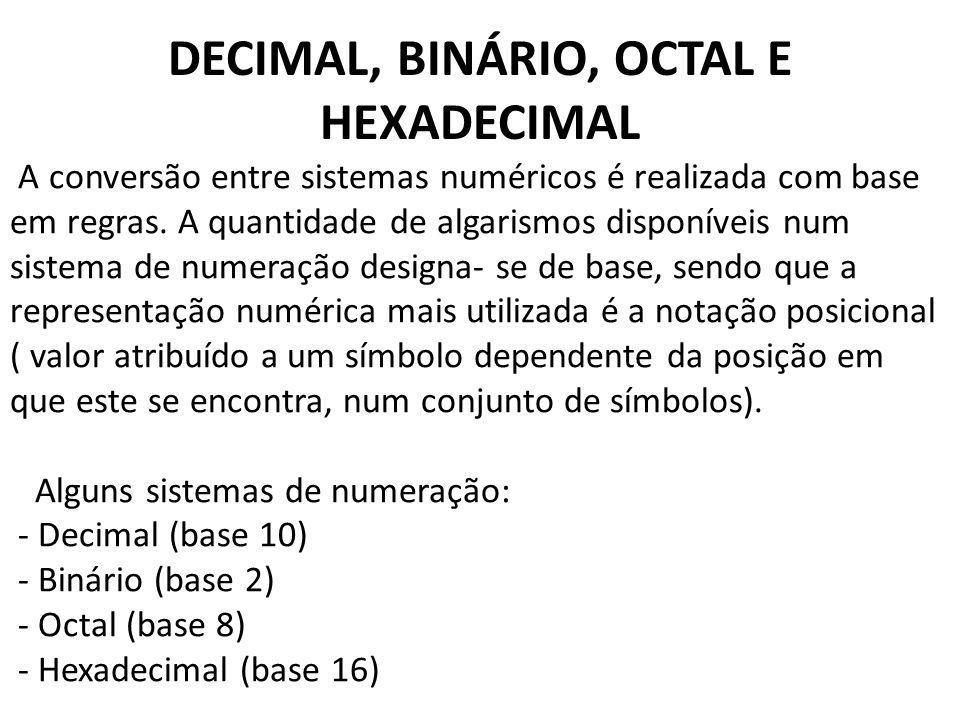 DECIMAL, BINÁRIO, OCTAL E HEXADECIMAL
