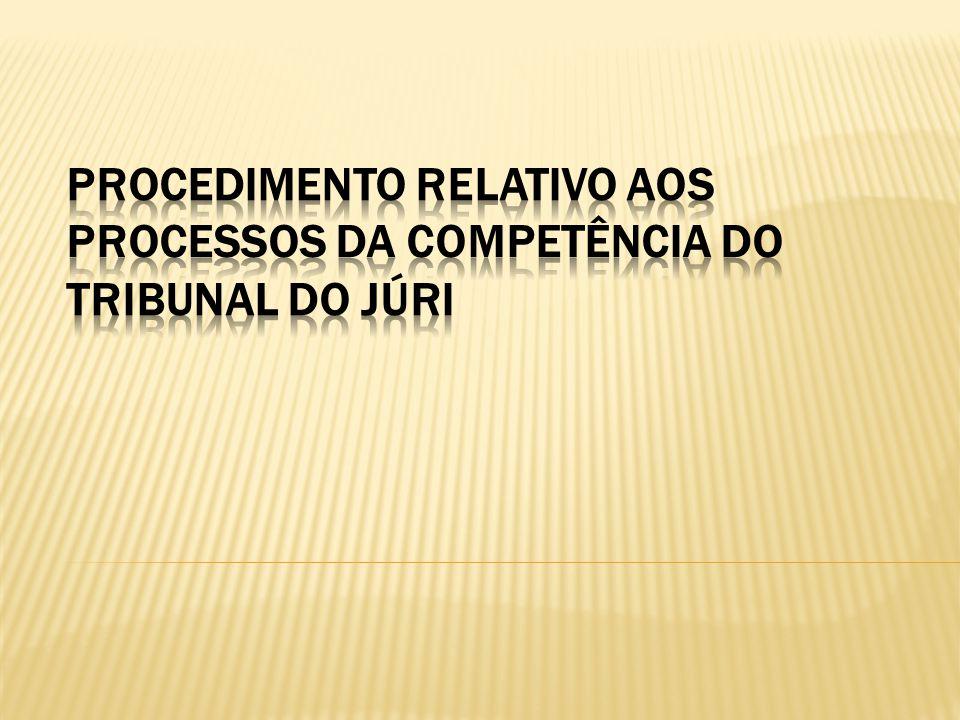 PROCEDIMENTO RELATIVO AOS PROCESSOS DA COMPETÊNCIA DO TRIBUNAL DO JÚRI