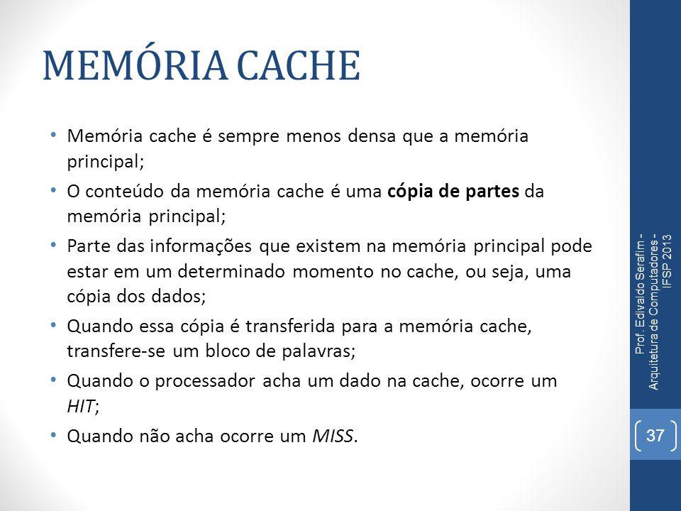 MEMÓRIA CACHE Memória cache é sempre menos densa que a memória principal; O conteúdo da memória cache é uma cópia de partes da memória principal;