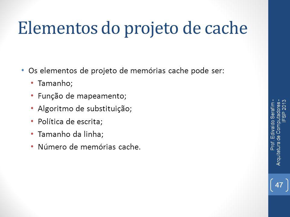 Elementos do projeto de cache