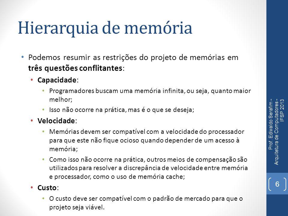 Hierarquia de memória Podemos resumir as restrições do projeto de memórias em três questões conflitantes: