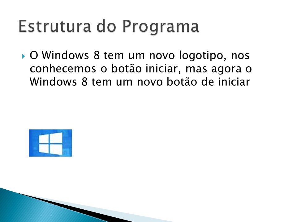 Estrutura do Programa O Windows 8 tem um novo logotipo, nos conhecemos o botão iniciar, mas agora o Windows 8 tem um novo botão de iniciar.