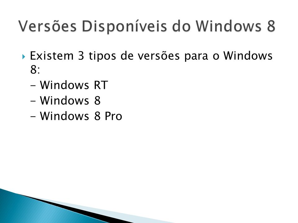 Versões Disponíveis do Windows 8