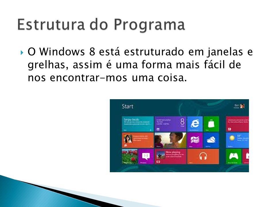 Estrutura do Programa O Windows 8 está estruturado em janelas e grelhas, assim é uma forma mais fácil de nos encontrar-mos uma coisa.