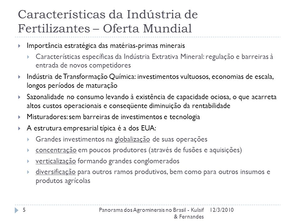 Características da Indústria de Fertilizantes – Oferta Mundial