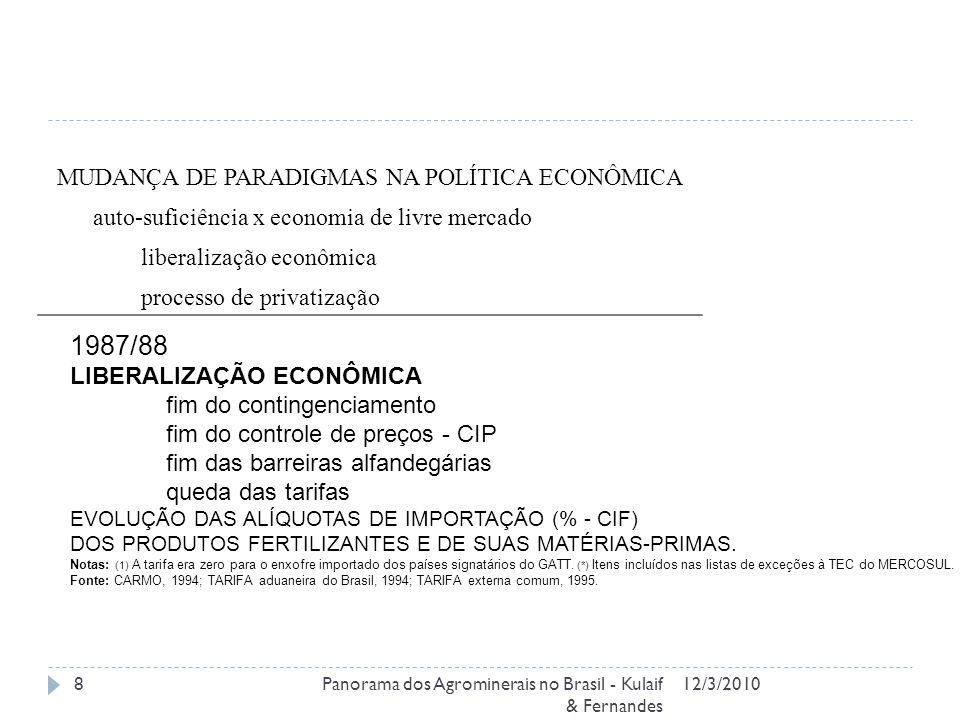MUDANÇA DE PARADIGMAS NA POLÍTICA ECONÔMICA