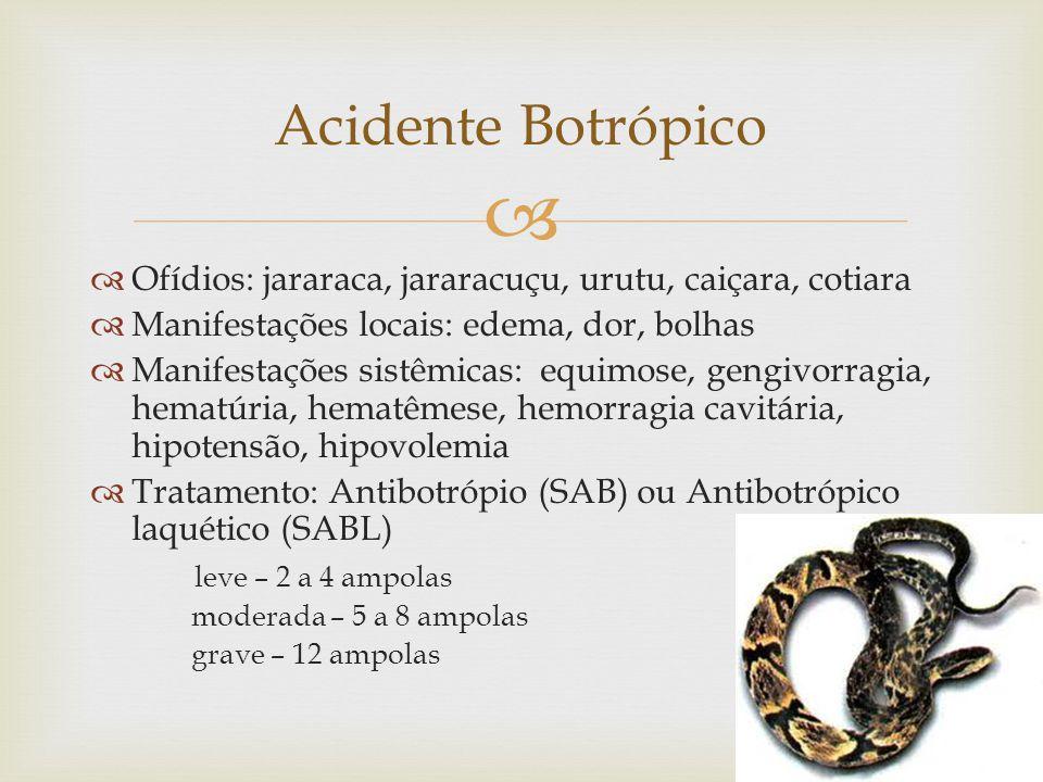 Acidente Botrópico Ofídios: jararaca, jararacuçu, urutu, caiçara, cotiara. Manifestações locais: edema, dor, bolhas.