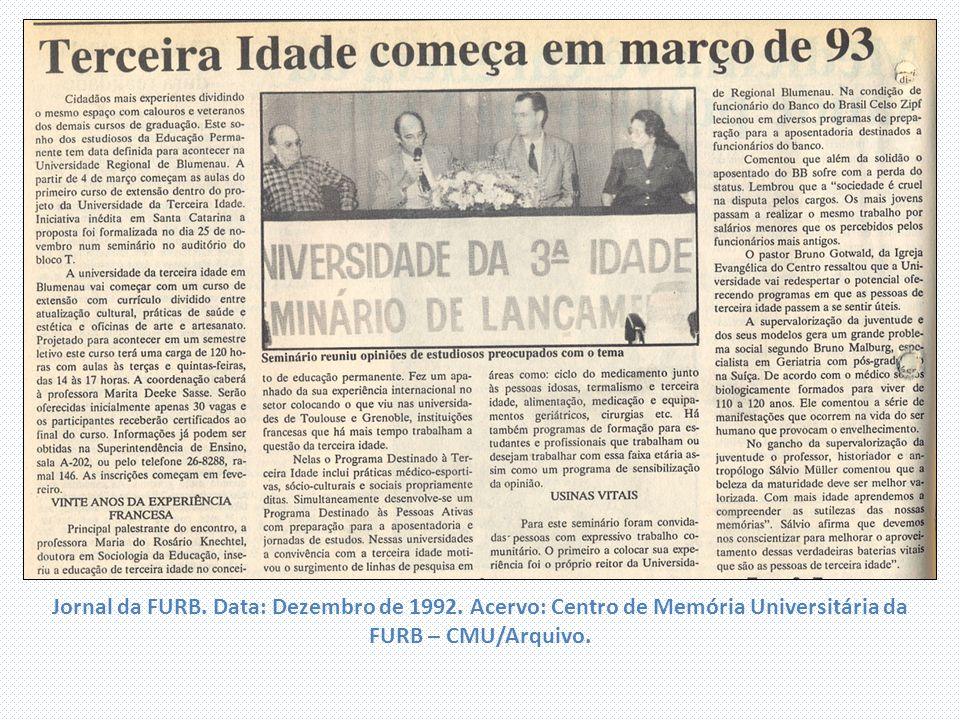 Jornal da FURB. Data: Dezembro de 1992