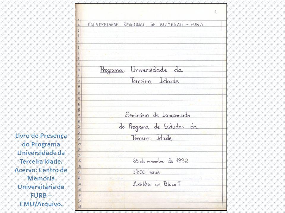 Livro de Presença do Programa Universidade da Terceira Idade