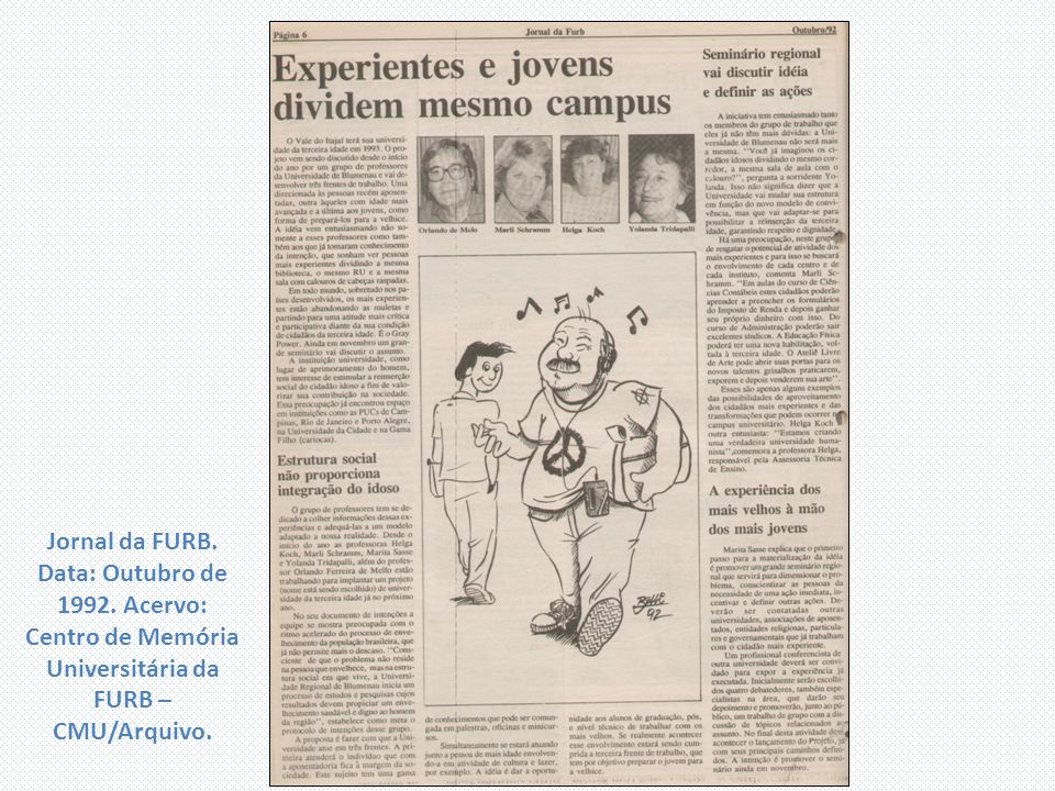 Jornal da FURB. Data: Outubro de 1992