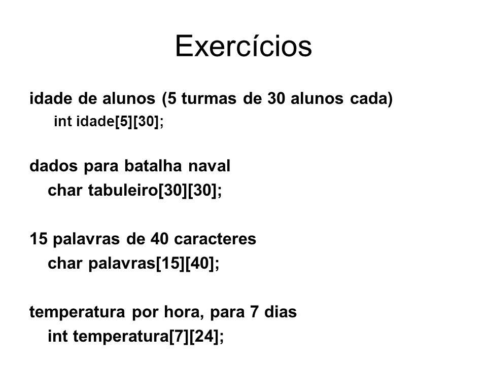 Exercícios idade de alunos (5 turmas de 30 alunos cada)