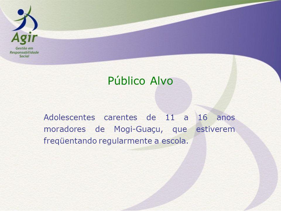 Público Alvo Adolescentes carentes de 11 a 16 anos moradores de Mogi-Guaçu, que estiverem freqüentando regularmente a escola.