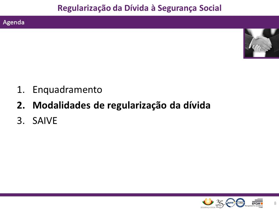 Enquadramento Modalidades de regularização da dívida SAIVE