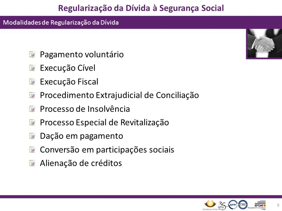Pagamento voluntário Execução Cível. Execução Fiscal. Procedimento Extrajudicial de Conciliação. Processo de Insolvência.