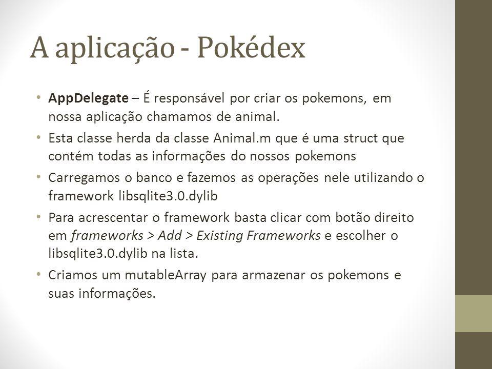 A aplicação - Pokédex AppDelegate – É responsável por criar os pokemons, em nossa aplicação chamamos de animal.